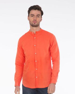 Citrus Orange Mandarin Collar Shirt