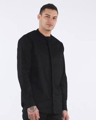 Buy Classic Black Side Buttoned Mandarin Collar Shirt Online India @ Bewakoof.com