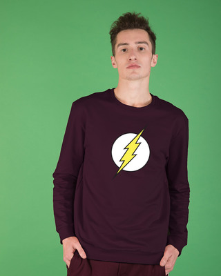 Shop Classic Flash Logo Crew Neck Fleece Sweater (FL)-Front