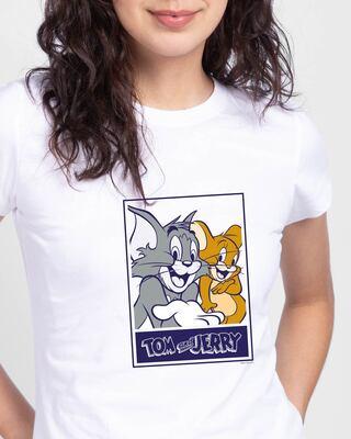 Shop Classic T & J Half Sleeve Printed T-Shirt White (TJL)-Front