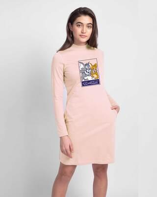 Shop Classic T & J High Neck Pocket Dress Baby Pink (TJL)-Front