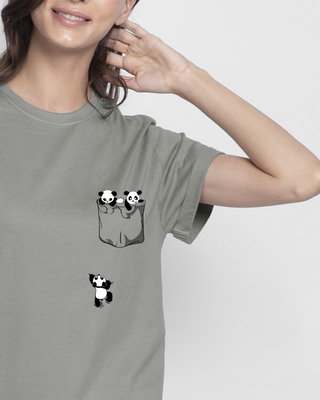 Shop Climbing Pocket Panda Boyfriend T-Shirt-Front