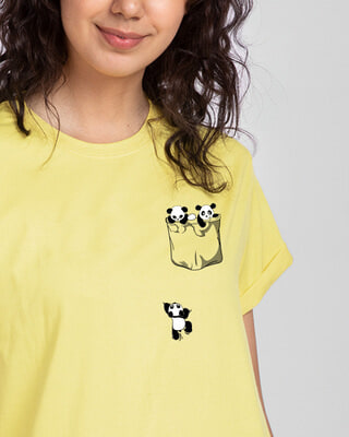 Shop Climbing pocket panda Boyfriend T-Shirts-Front