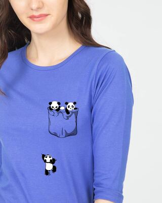 Shop Climbing pocket panda Round Neck 3/4 Sleeve T-Shirts Blue Haze-Front