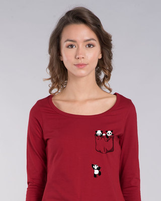 Shop Climbing Pocket Panda Scoop Neck Full Sleeve T-Shirt-Front