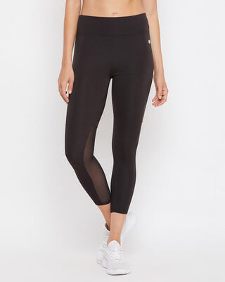 Shop Clovia Activewear Ankle Length Tights in Black-Front