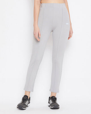 Shop Clovia Activewear Ankle Length Tights in Grey-Front