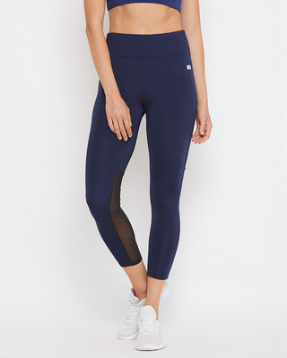 Shop Clovia Activewear Ankle Length Tights in Navy-Front