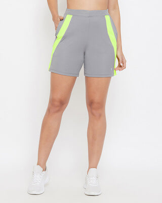 Shop Clovia Activewear Shorts in Grey-Front