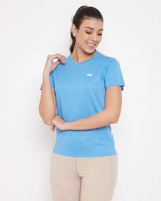Shop Clovia Activewear T-shirt in Light Blue with Reflector Piping-Front