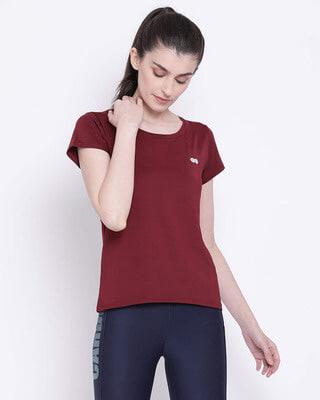Shop Clovia Activewear T-Shirt in Maroon-Front
