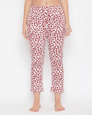 Shop Clovia Animal Print Pyjama in White-Front