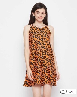 Shop Clovia Animal Print Short Night Dress in Brown - Crepe-Front
