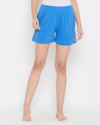 Shop Clovia Boxer Shorts In Purple- Cotton Rich-Front
