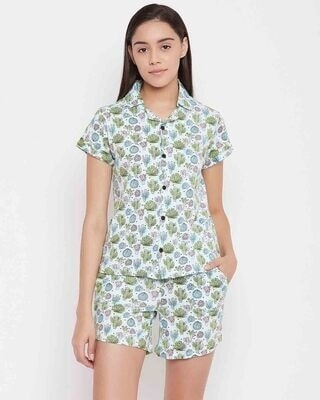 Shop Clovia Button Me Up Cactus Shirt & Shorts in Green- Cotton Rich-Front