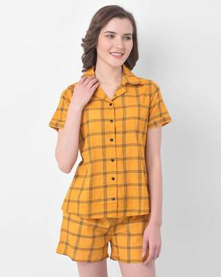 Shop Clovia Button Me Up Checked Shirt & Shorts Set in Mustard- 100% Cotton-Front