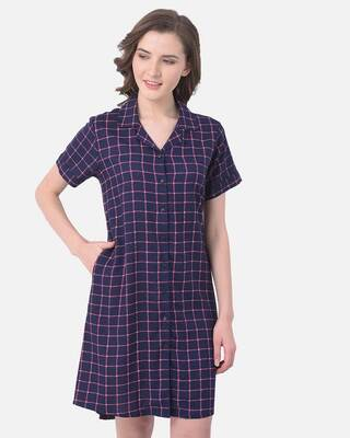 Shop Clovia Button Me Up Checked Sleep Dress in Navy - Cotton Rich-Front
