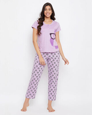 Shop Clovia Button Me Up Owl Print Top & Pyjama in Lilac-Front