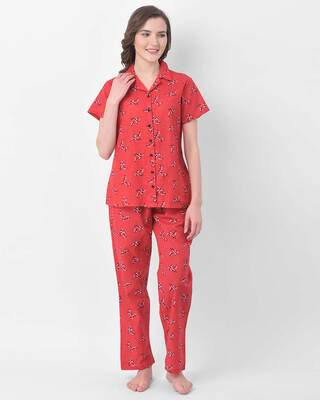 Shop Clovia Button Me Up Pretty Florals Shirt & Pyjama in Red- Crepe-Front