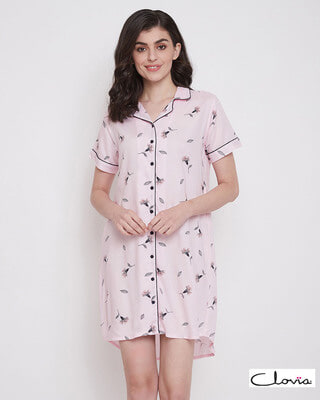 Shop Clovia Button Me Up Pretty Florals Short Night Dress in Light Pink - Rayon-Front