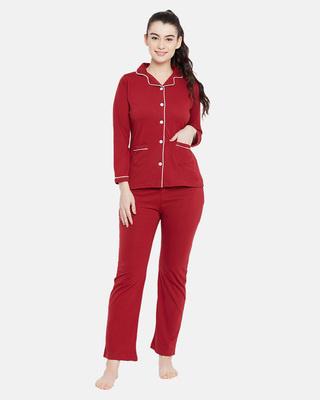 Shop Clovia Button Me Up Shirt & Pyjama Set In Maroon-Front