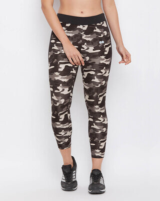 Shop Clovia Camouflage Print Activewear Ankle-Length Tights in Dark Grey-Front