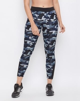 Shop Clovia Camouflage Print Activewear Ankle-Length Tights in Navy-Front