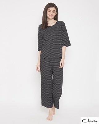 Shop Clovia Chassic Checks Top & Pyjama Set-Front