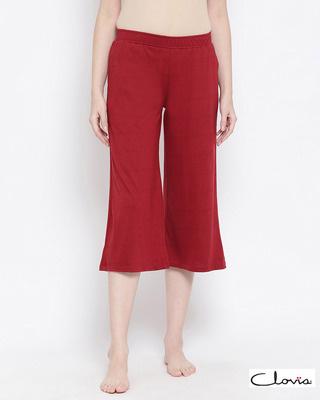Shop Clovia Chic Basic Capri in Maroon- Cotton Rich-Front