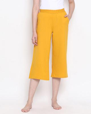 Shop Clovia Chic Basic Capri In Mustard Cotton Rich-Front