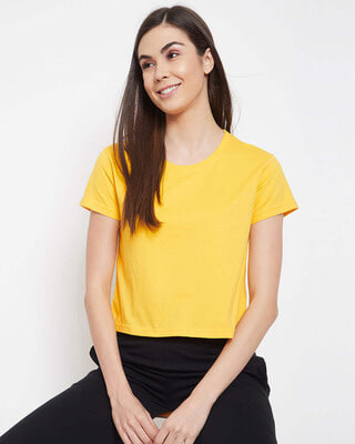 Shop Clovia Chic Basic Cropped Sleep Tee in Yellow - 100% Cotton-Front