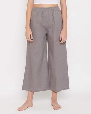 Shop Clovia Chic Basic Flared Pyjama in Grey - 100 Cotton-Front