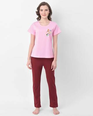 Shop Clovia Chic Basic Pyjama & Printed Top-Front