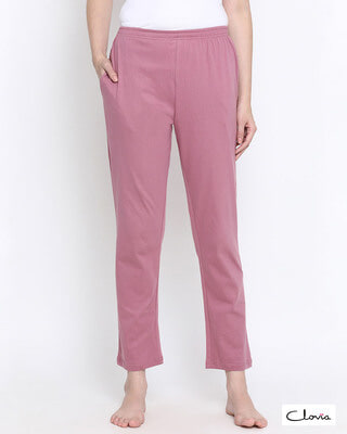 Shop Clovia Chic Basic Pyjama in Dusty Pink - 100% Cotton-Front