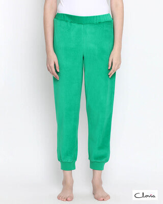 Shop Clovia Chic Basic Pyjama in Green- Velour-Front
