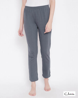 Shop Clovia Chic Basic Pyjama in Grey- Cotton Rich-Front
