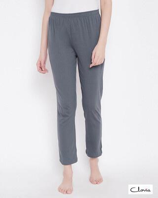 Shop Clovia Chic Basic Pyjama in Grey- Cotton Rich-Front