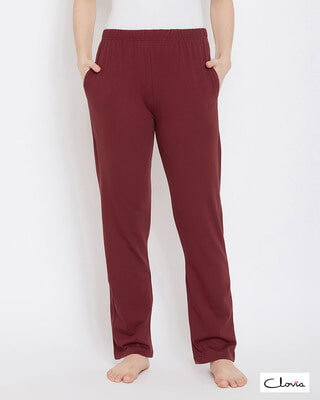 Shop Clovia Chic Basic Pyjama in Maroon- Cotton Rich-Front