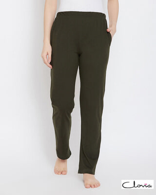 Shop Clovia Chic Basic Pyjama in Olive Green- Cotton Rich-Front