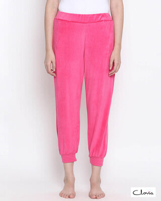 Shop Clovia Chic Basic Pyjama in Pink- Velour-Front