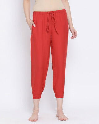 Shop Clovia Chic Basic Pyjama in Rust Orange-Front