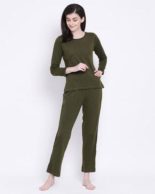 Shop Clovia Chic Basic Top & Pyjama Set In Olive Green- Cotton Rich-Front