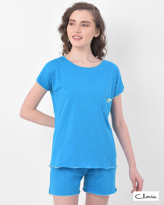 Shop Clovia Chic Basic Top & Shorts Set in Light Blue- 100% Cotton-Front