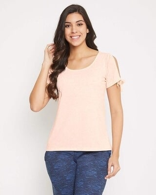 Shop Clovia Chic Basic Top in Peach Pink - Cotton Rich-Front