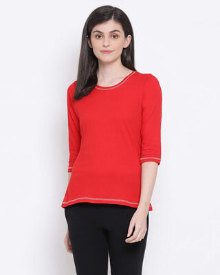 Shop Clovia Chic Basic Top in Red- 100 Cotton-Front