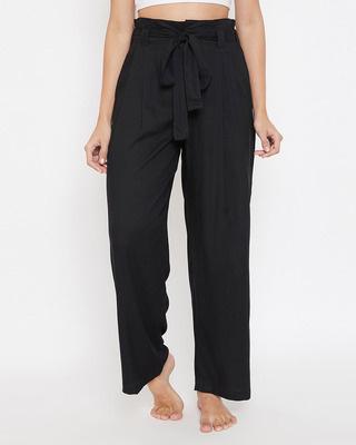 Shop Clovia Chic Basic Wide Leg Pants in Black-Front