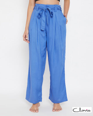 Shop Clovia Chic Basic Wide Leg Pants in Blue - Rayon-Front