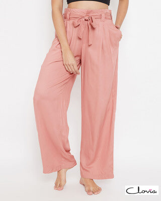 Shop Clovia Chic Basic Wide Leg Pants in Peach Pink - Rayon-Front