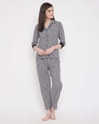 Shop Clovia Classic Checks Button Me Up Shirt & Pyjama in Black -Front