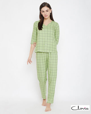 Shop Clovia Classic Checks Button Me Up Shirt & Pyjama in Mint Green - Rayon-Front
